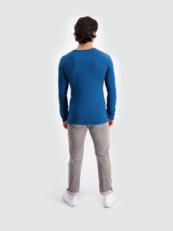 Two Blind Brothers - Mens Men's Long Sleeve Henley Teal