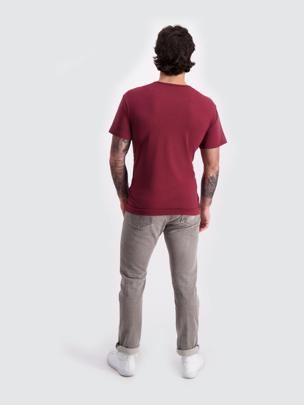 Two Blind Brothers - Mens Men's Short Sleeve Henley Maroon