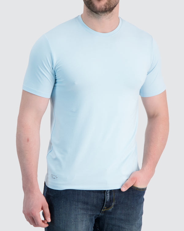 Two Blind Brothers - Mens Men's Short Sleeve Crewneck Tee Light-Blue
