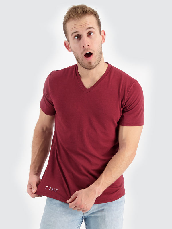 Two Blind Brothers - Mens Men's Short Sleeve V-Neck Tee Maroon