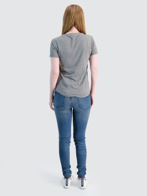 Two Blind Brothers - Womens Women's Short Sleeve V-Neck Tee Medium-Grey-Heather