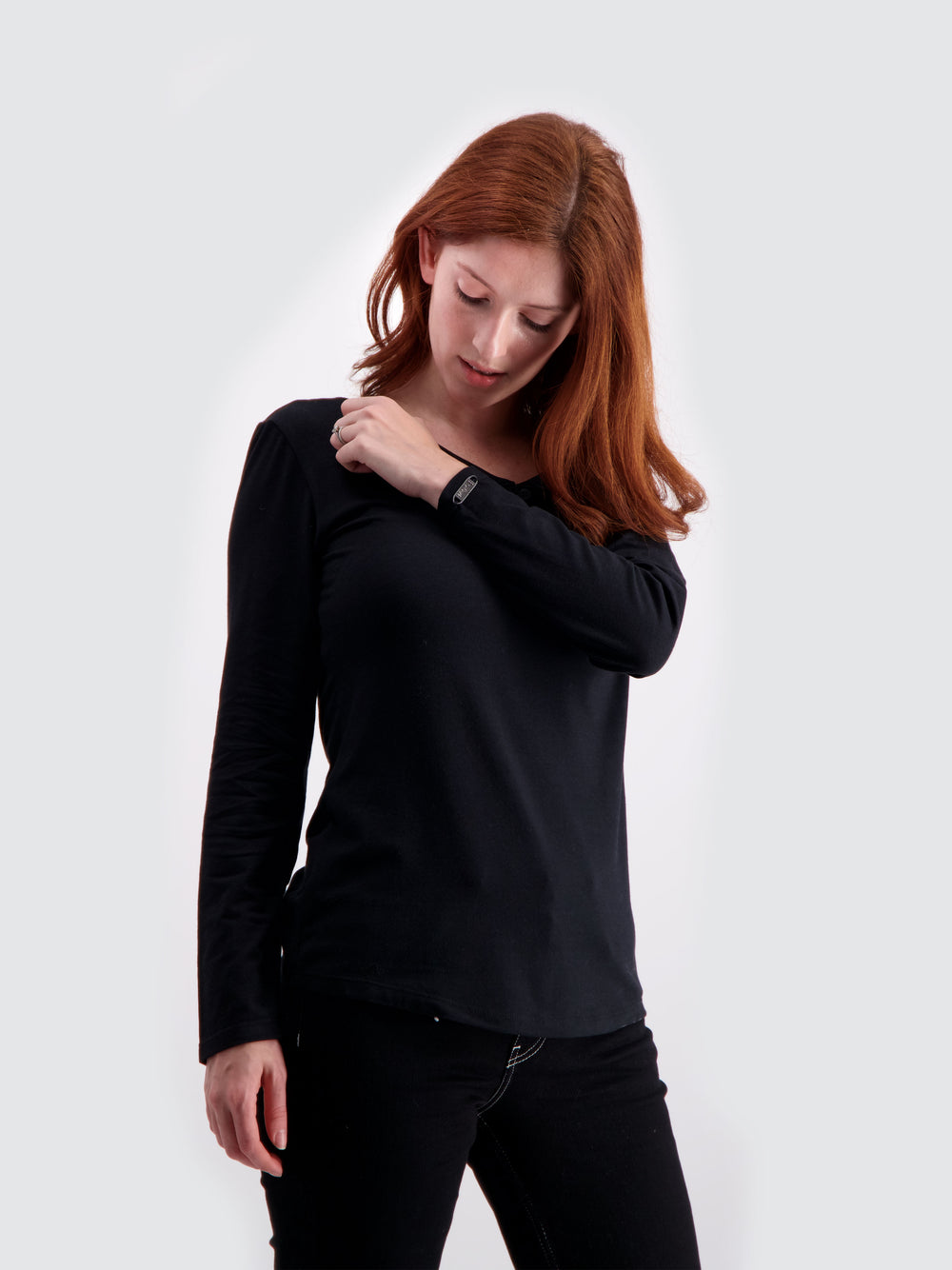Two Blind Brothers - Womens Women's Long Sleeve Relaxed Fit Henley Charcoal