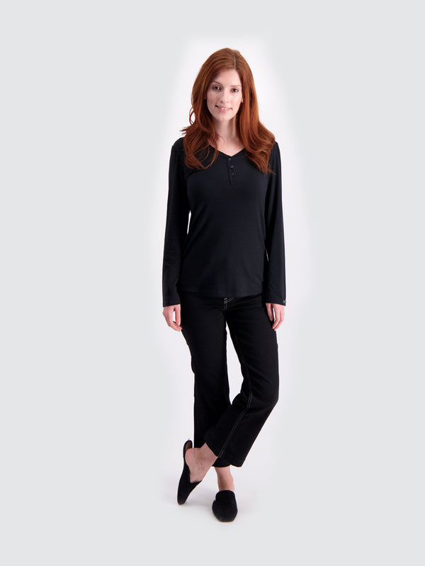 Two Blind Brothers - Womens Women's Long Sleeve Relaxed Fit Henley Black