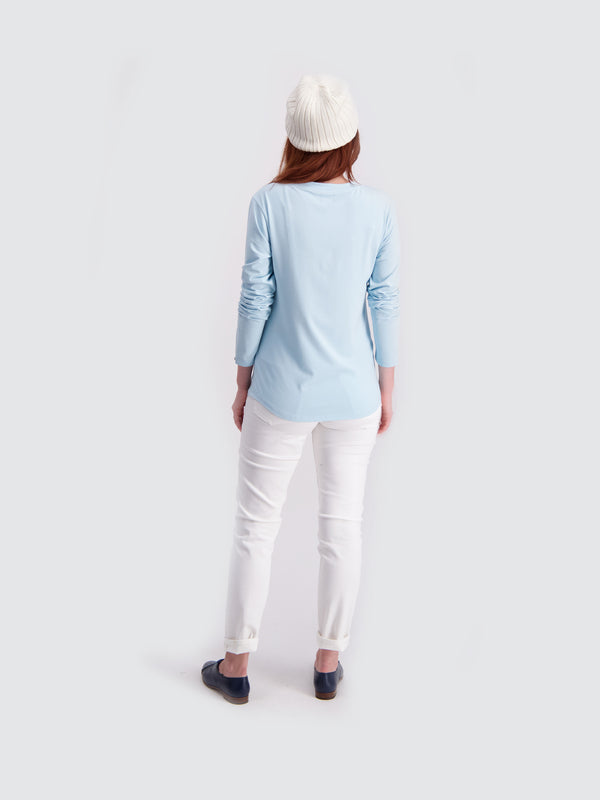 Two Blind Brothers - Womens Women's Long Sleeve Relaxed Fit Henley Light-Blue
