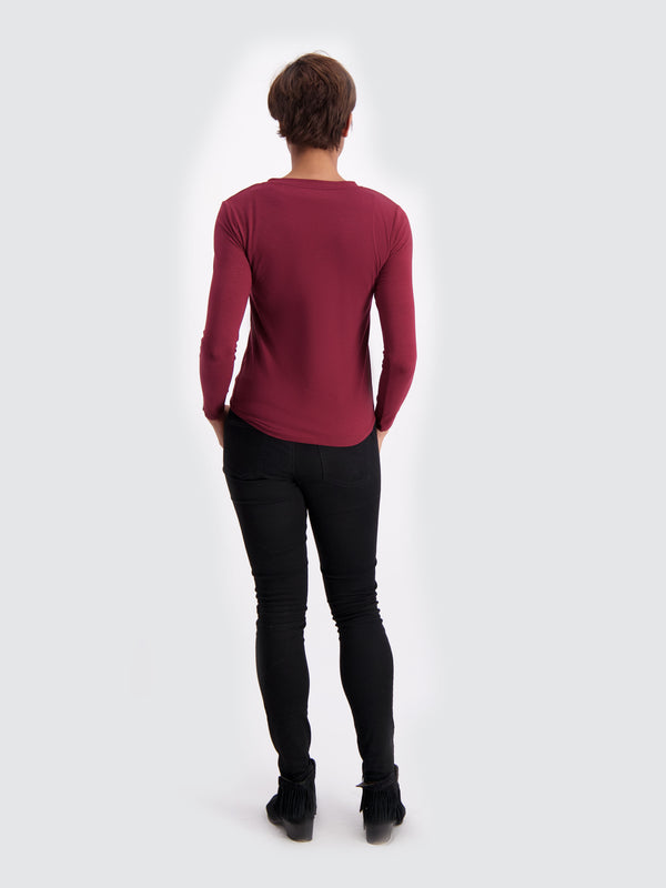 Two Blind Brothers - Womens Women's Long Sleeve Relaxed Fit Henley Maroon