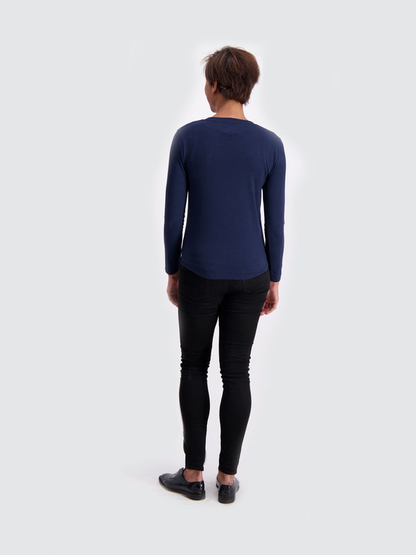 Two Blind Brothers - Womens Women's Long Sleeve Relaxed Fit Henley Navy