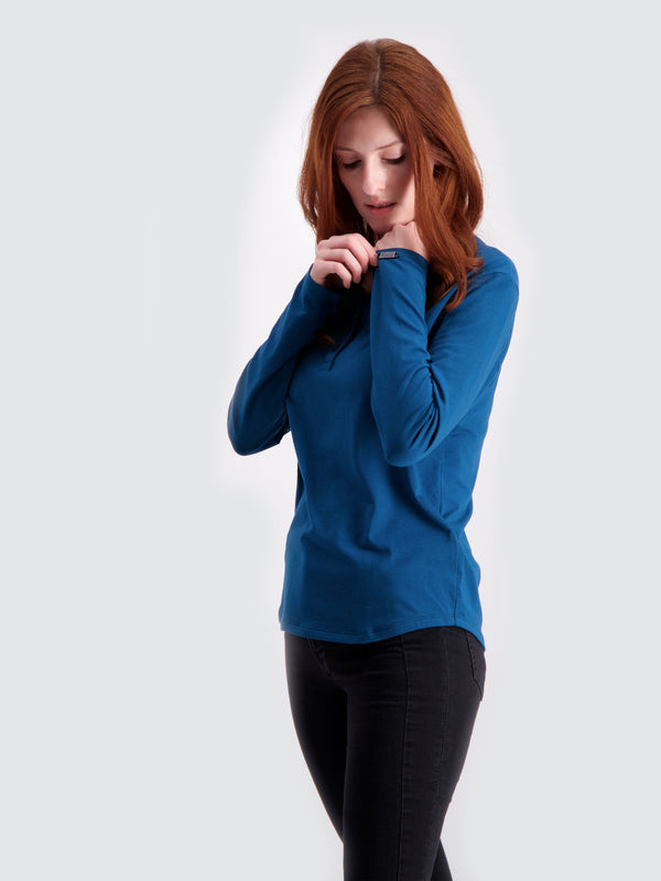 Two Blind Brothers - Womens Women's Long Sleeve Relaxed Fit Henley Teal