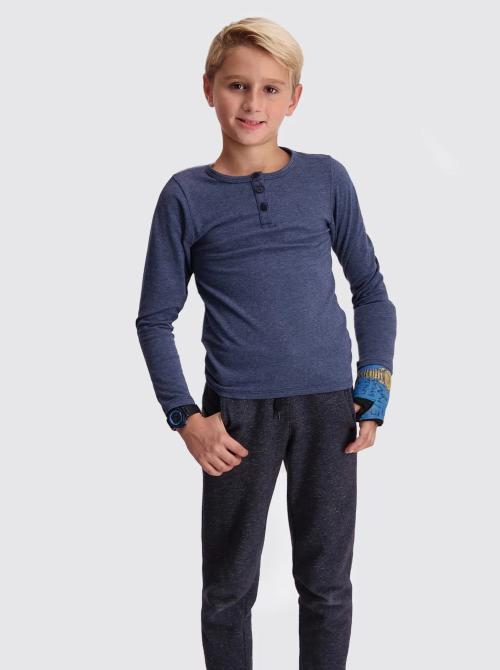 Two Blind Brothers -  Kids' Long Sleeve Henley Navy