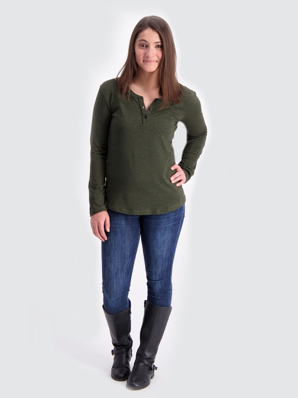 Two Blind Brothers - Womens Women's Long Sleeve Relaxed Fit Henley Forest