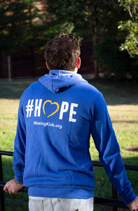NCMEC #Hope Royal Blue Heather Zip-Up Hoodie