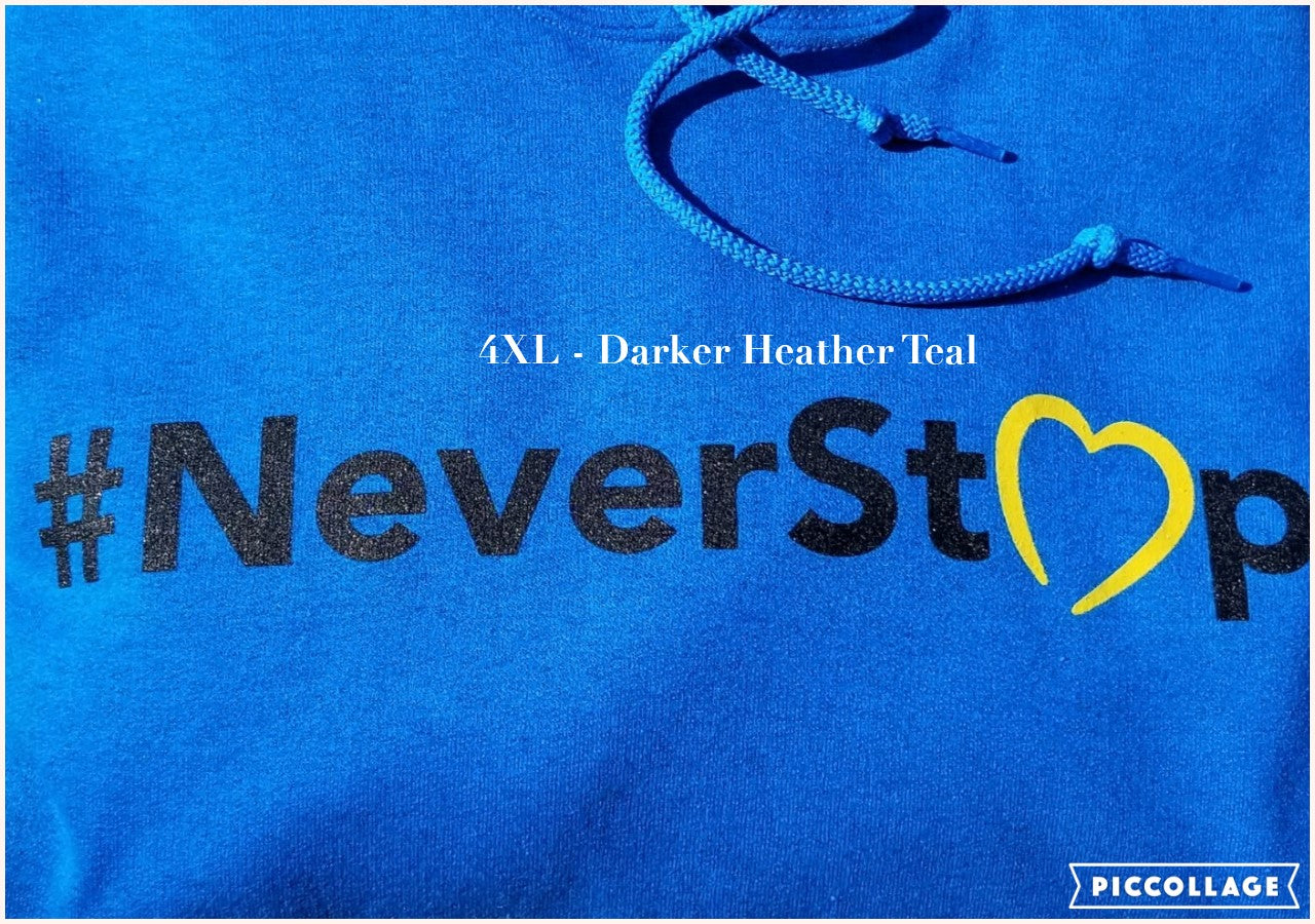 NCMEC #NeverStop Heather Teal Hoodie