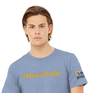 NCMEC #NeverStop Heather Blue T-shirt