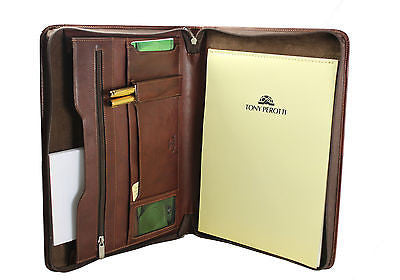 Tony Perotti Italian leather zip round conference folder
