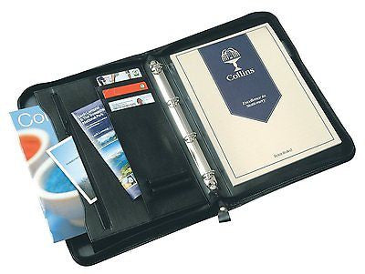 Collins Conference /Document Holder 4 Ring binder Folio with Zipper - Black