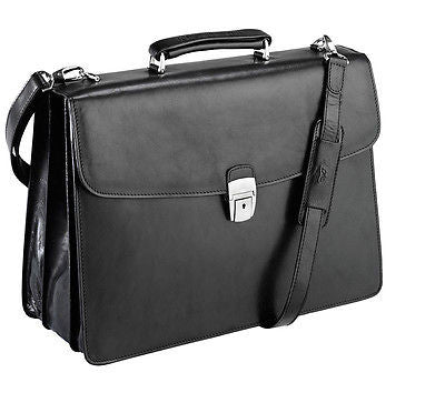 Tony Perotti Italian leather 3 gusset briefcase Black