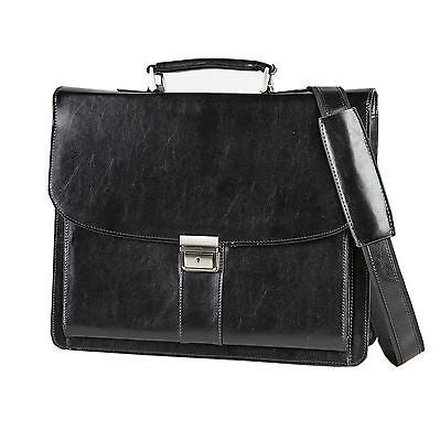 "Falcon Leather 16"" Laptop Briefcase"