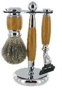 Artemis MACH 3 Light Oak Heavy Razor & Badger Hair Brush on stainless steel stand