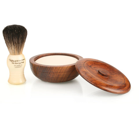 Taylor of Bond Street Pure Badger Brush and Sandalwood Soap in Wooden Bowl