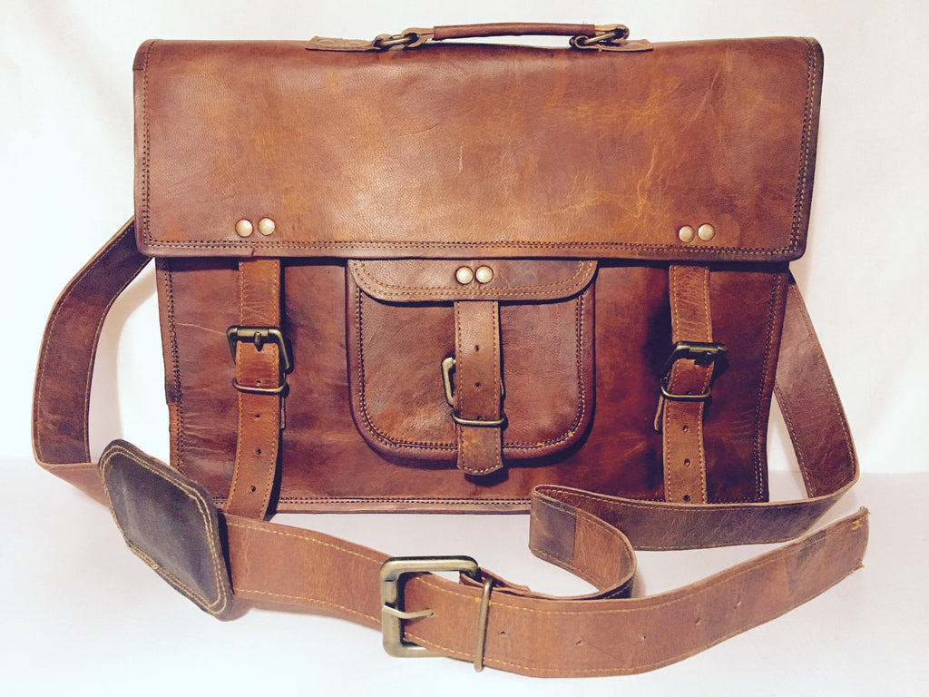 Large Brown Leather Satchel - Briefcase Style
