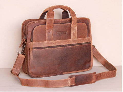 MENS CITYLANDER LEATHER LAPTOP BRIEFCASE