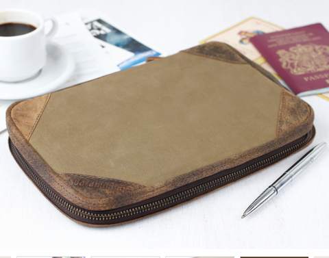 CANVAS TRAVEL DOCUMENT PASSPORT ID HOLDER
