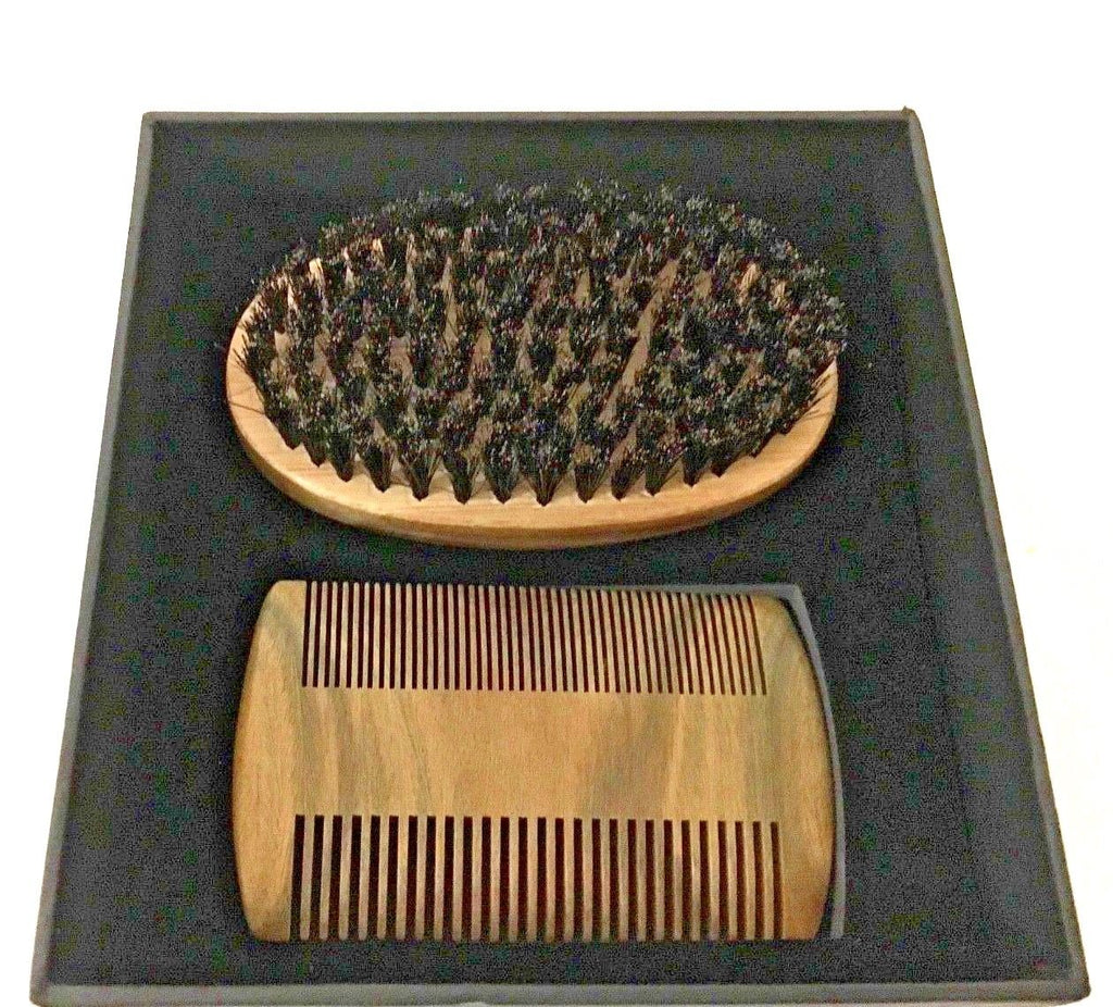 Bristle beard brush and pear wood beard comb gift set