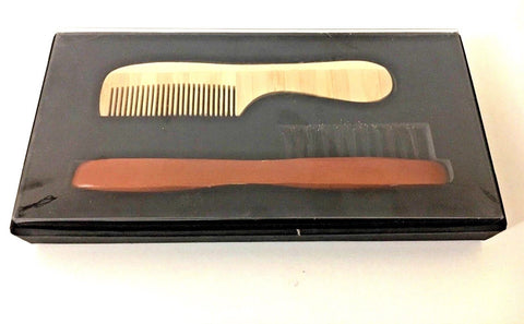 Bristle beard brush and pear wood comb gift set