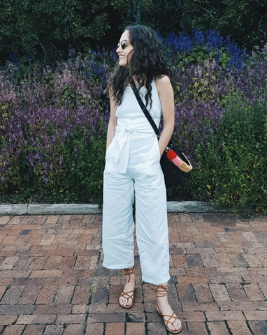 Chane Oberholzer with her Thalia Strates Mini Bucket Bag and Shearling Shoulder Strap
