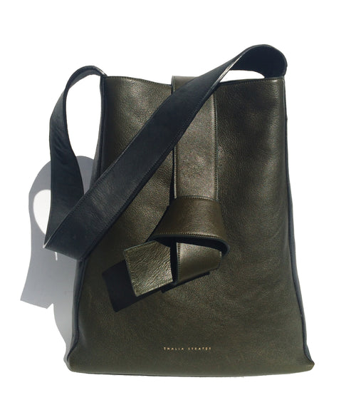 Geneva Shoulder leather bag - khaki green