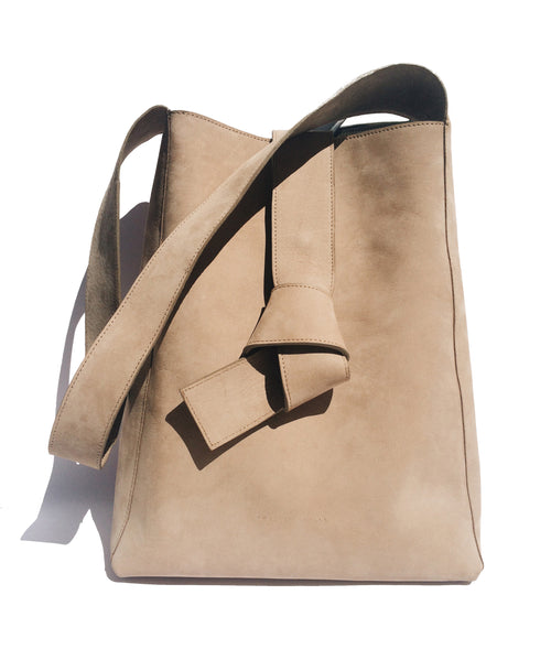 Geneva Shoulder Leather Bag - sand Nubuck