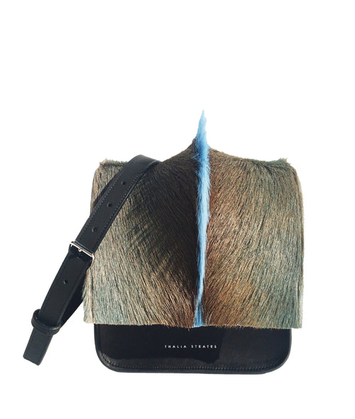 Iris Palma Bag in black leather and powder blue springbok mohawk