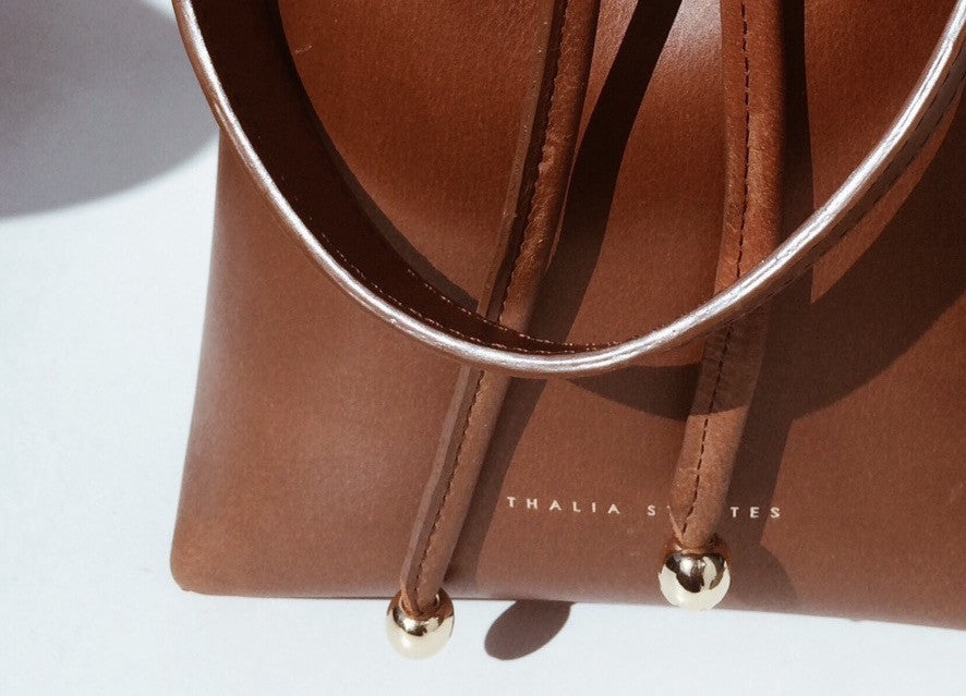 Mini Leather Bucket Bag - Coffee - details