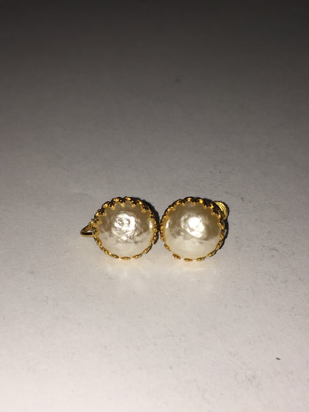 miriam haskell  gold and pearl clip on earrings