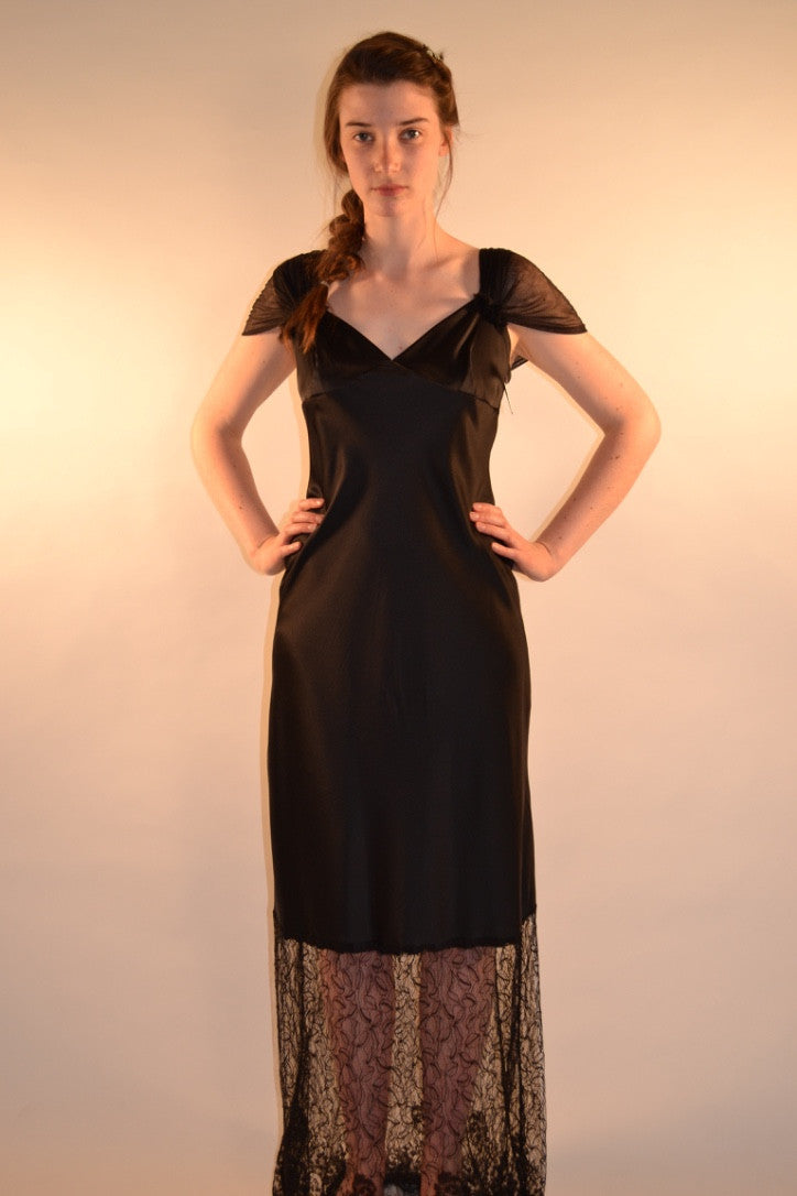 Slip dress with Sleeve of Silk net
