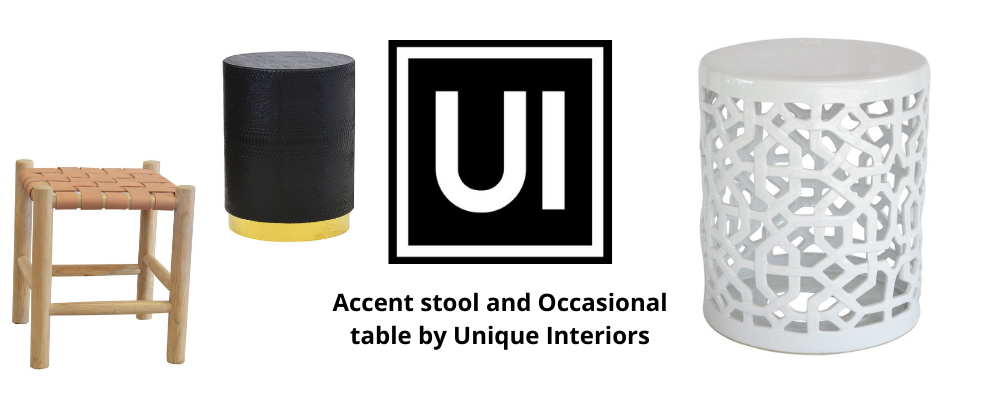 Accent stool and Occasional table by Unique Interiors
