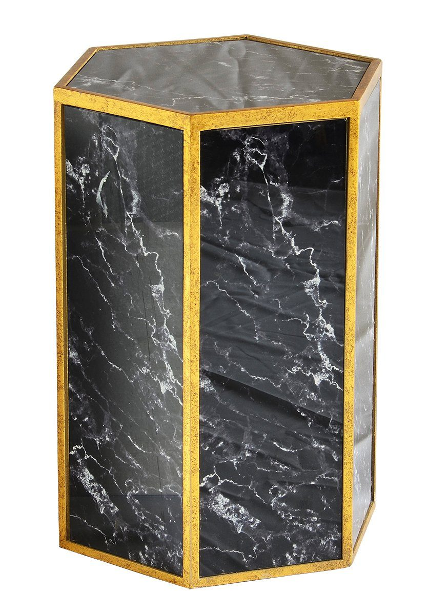 Glass stool marble black