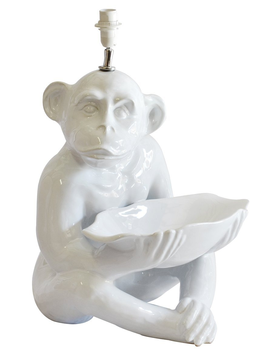 Ceramic monkey lamp white Extra large
