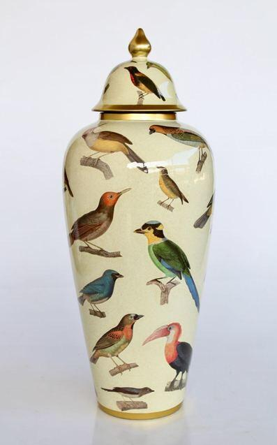 Large tall bird ginger jar 62cm