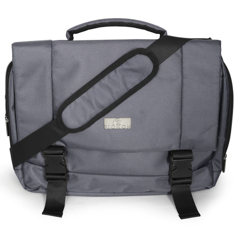 Pichon Spacious Crossbody Messenger Bag (up to 15.6 Inch), Padded Laptop and Tablet Compartments with Adjustable Shoulder Strap, Gray