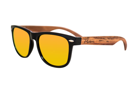Red lens wood sunglasses