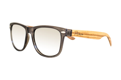 silver lens wood sunglasses