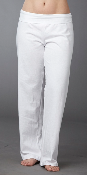 White Cotton Roll-Waist Yoga Pants