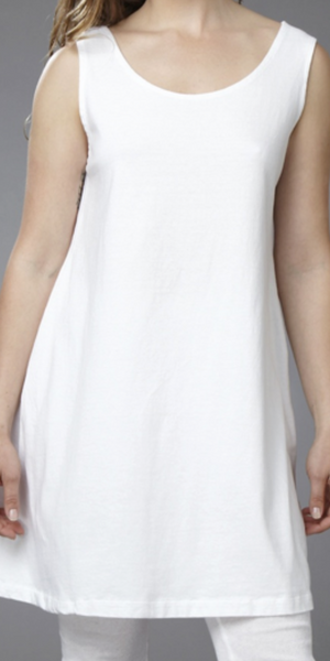Sleeveless Dress 100% White Cotton