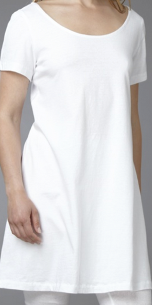 Short-sleeved 100% White Cotton Dress