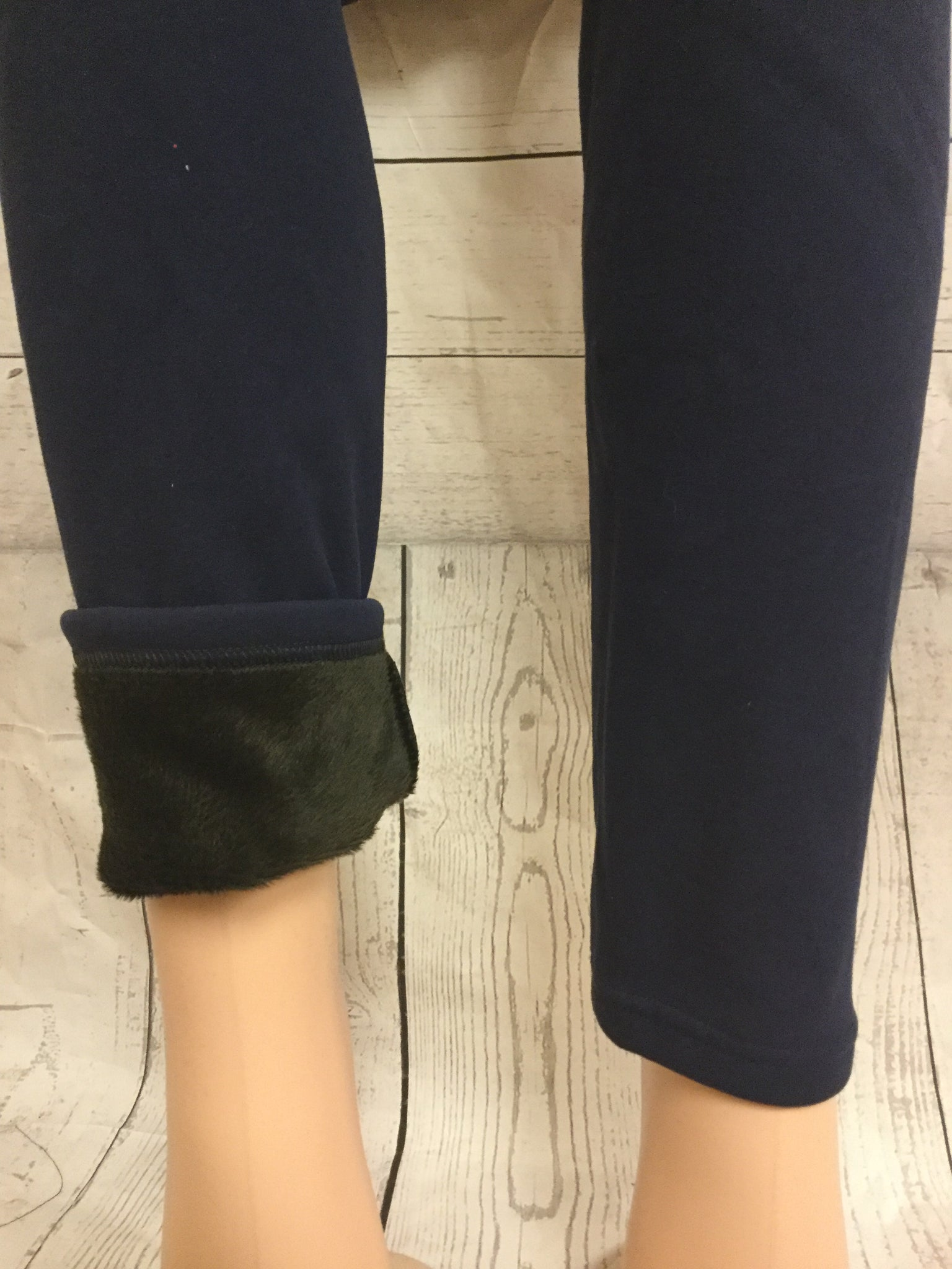 FUR LINED SOLID  NAVY LEGGINGS
