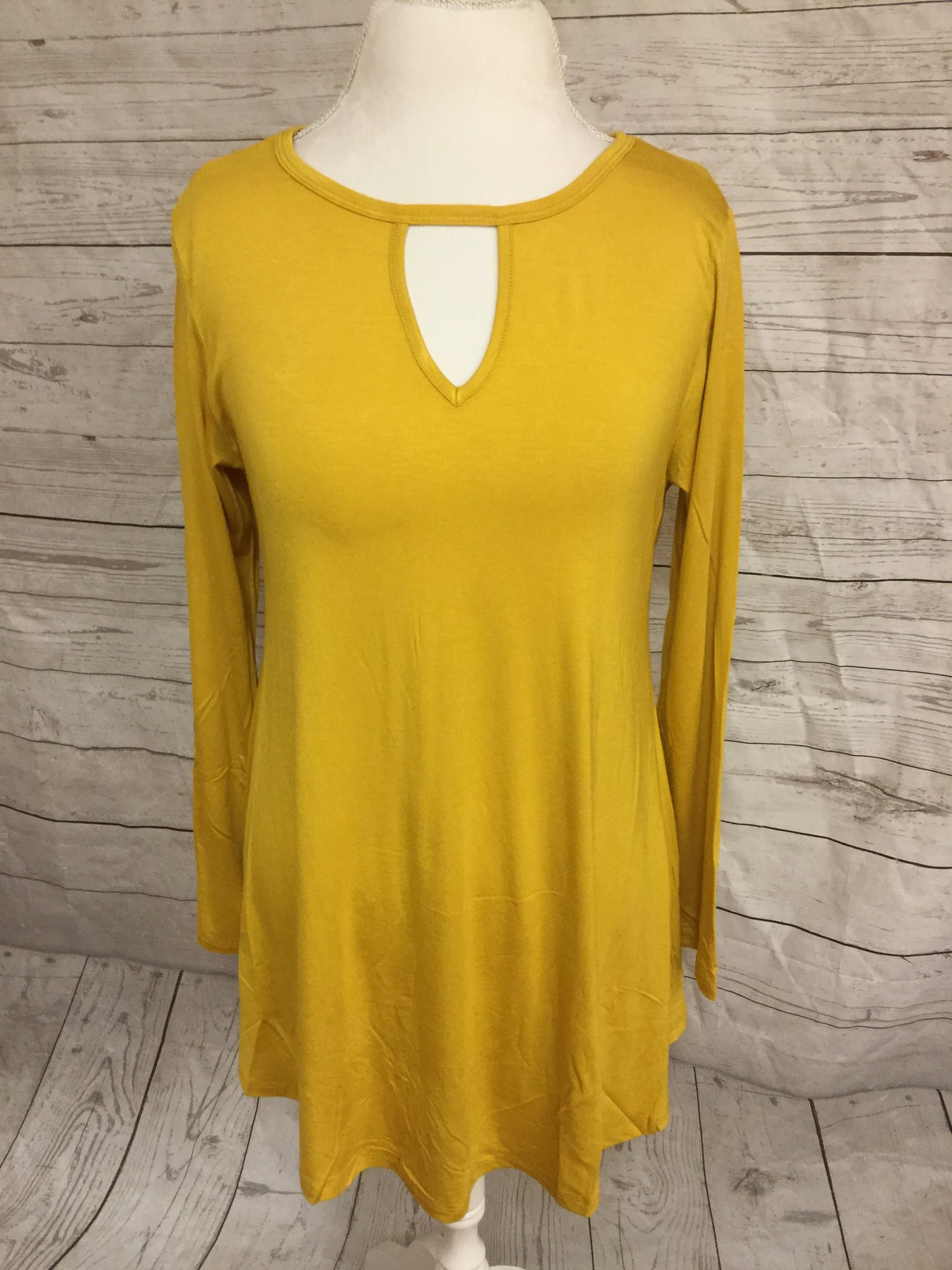Peek-A-Do Long Sleeve Mustard Tunic