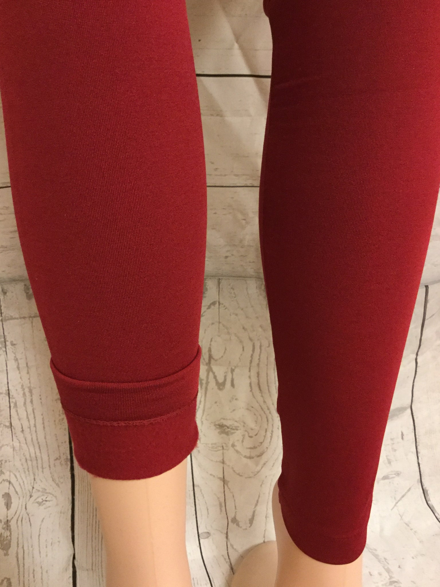 SOLID BURGUNDY FLEECE LINED LEGGINGS