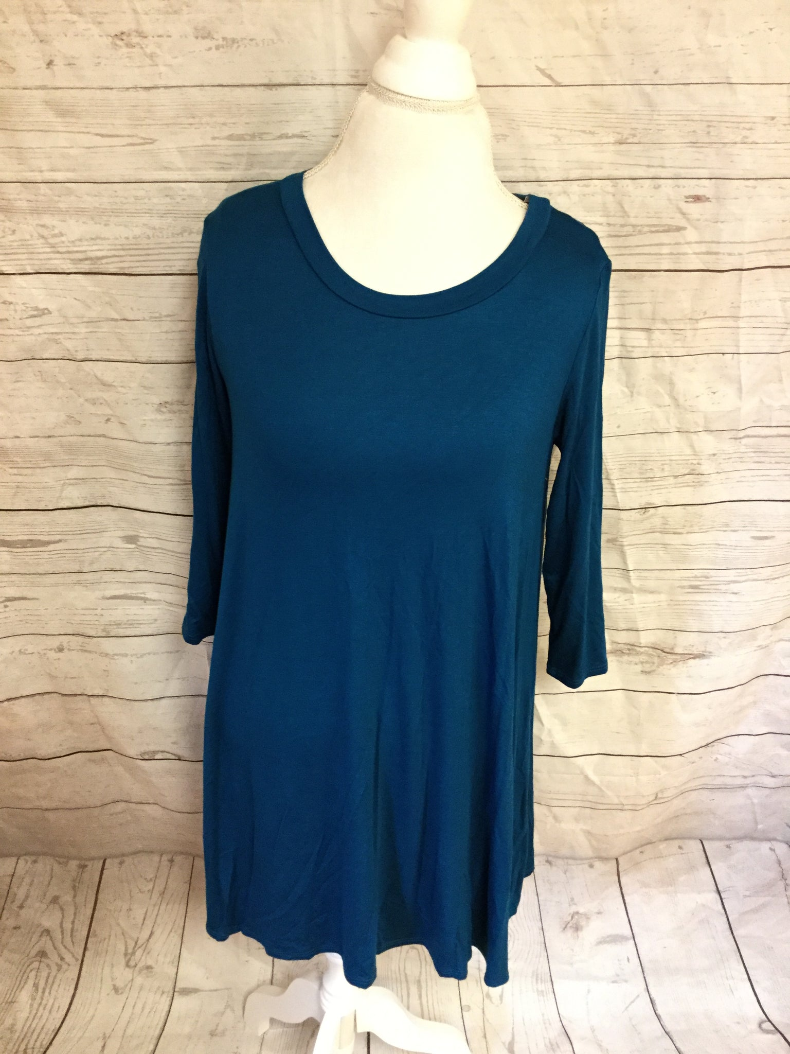 Teal A Line 3/4 Sleeve Over Sized Tunic