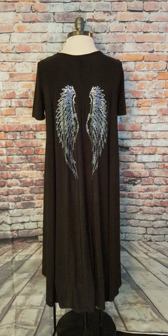 Rhinestone Wing High Low dress