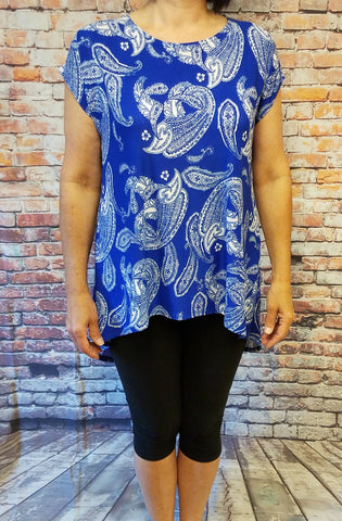 High Low Royal Blue Paisley Top